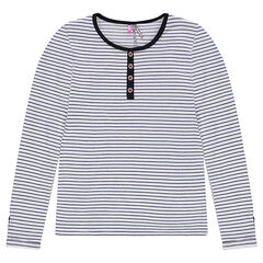 Junior - Long-sleeved knit tee-shirt with buttoned tabs