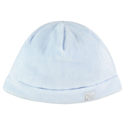 Plain-colored velvet cap