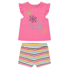 Ensemble with tank top with embroidery and striped terry cloth shorts