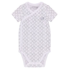 Short-sleeved bodysuit with animals printed all over