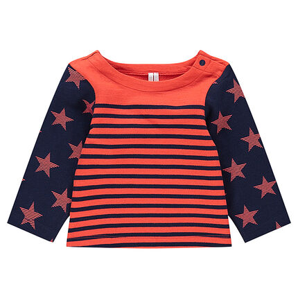 Lightweight fleece sailor top with allover stars and stripes
