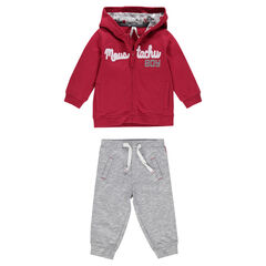 Sweatsuit with zipped, hooded jacket and fleece pants