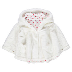 Jersey-lined hooded sherpa cape with hearts