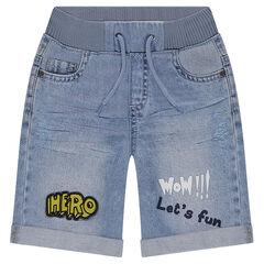 Used-effect denim bermuda shorts with elastic waistband and badges