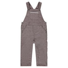 Taupe pinstripe velvet overalls with pockets