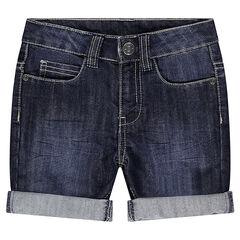 Junior - Worn and crinkled-effect denim bermuda shorts.
