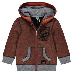 Hooded fleece jacket with embroidered tiger head