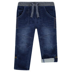 Jeans in soft used denim with retractable leg bottoms