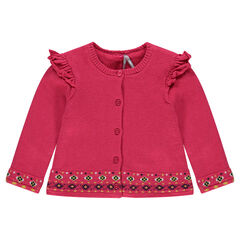 Sherpa-lined knit cardigan with frills and jacquard motifs