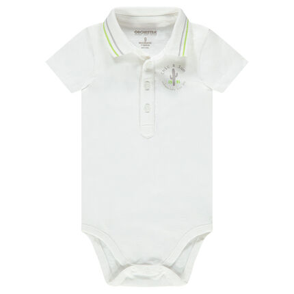 Short-sleeved bodysuit in jersey with polo shirt collar