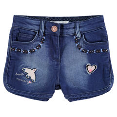 Used-effect denim shorts with colorful embroidery