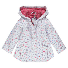 Rubber parka with flower print