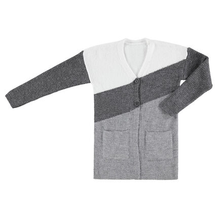 Junior - Knit tricolor cardigan with pockets