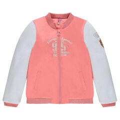 Junior - Bi-material bomber jacket with badges and embroidery