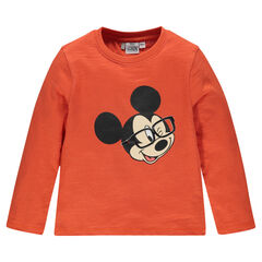 Long-sleeved, slub tee-shirt with Disney Mickey Mouse print