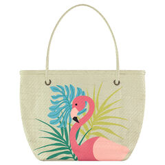 Straw beach bag with a pink flamingo print