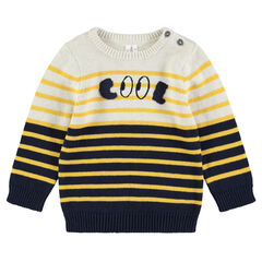 Knit sweater with jacquard stripes and embroidered word in front