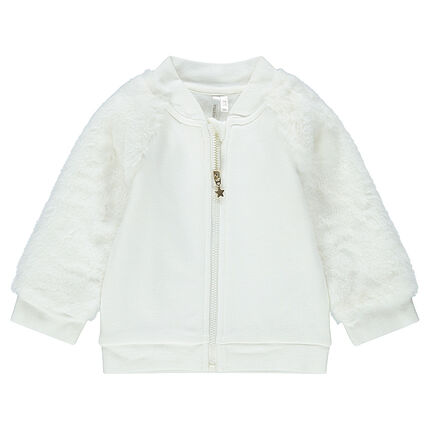 Letterman-style fleece jacket with sherpa sleeves