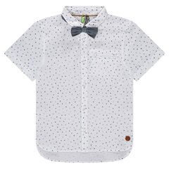 Short sleeve printed all-over shirt with bow tie