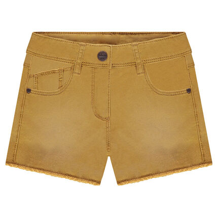 Used-effect overdyed twill shorts with a cut finish