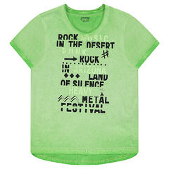 Junior - Overdyed short-sleeved jersey tee-shirt with printed messages