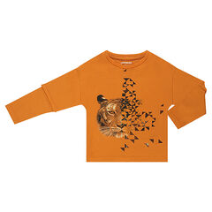 2 in 1 Long Sleeve T-Shirt with Printed Tiger