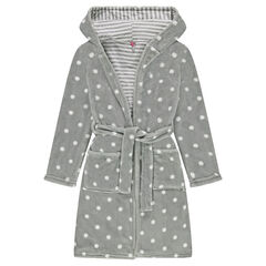 Junior - Sherpa bathrobe with allover polka dots