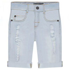 Used-effect bleached denim bermuda shorts