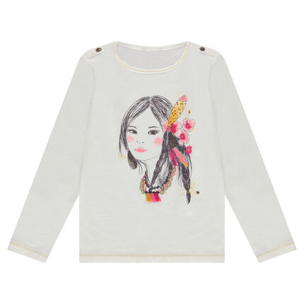 Long-sleeved jersey tee-shirt with a princess print and pompoms in relief
