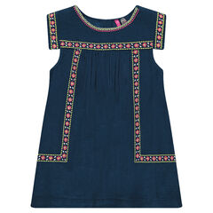 Short-sleeved cotton dress with embroidery