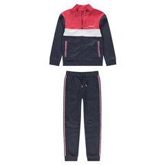 Junior - Tricolor fleece sweatsuit with contrasting bands