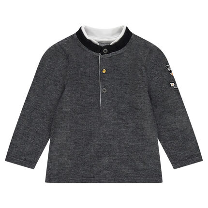 Heathered fleece polo shirt with badges and a trendy collar