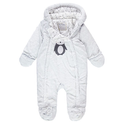 Jersey-lined sherpa snowsuit with an embroidered penguin