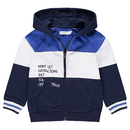 Tricolor fleece jacket with a printed message