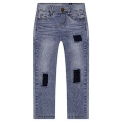 Junior - Used-effect slim fit jeans with patches