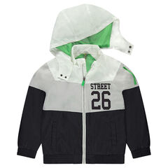 Tricolor windbreaker lined mesh with print inscription