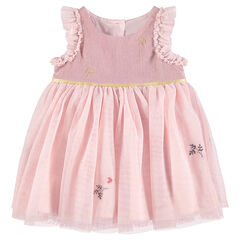 Bi-material pink celebration dress with tulle and frills