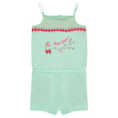 Jersey romper with smocks and flower trim