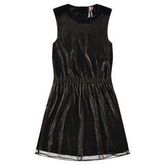 Sleeveless dress with metallic-effect voile