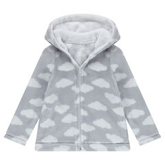 Bathrobe-style sherpa jacket with printed clouds