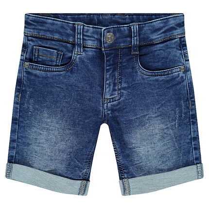 Junior - Distressed denim-effect fleece bermuda shorts