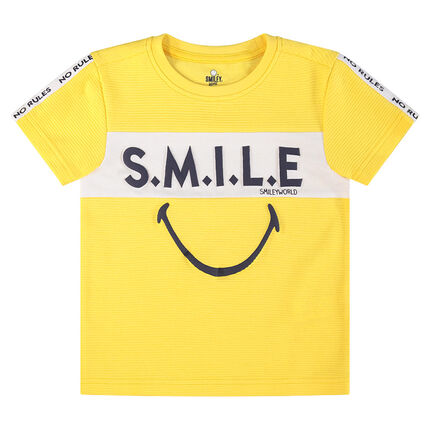 Short-sleeved tee-shirt with messages and printed ©Smiley