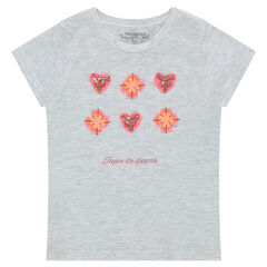 Short-sleeved jersey tee-shirt with flowers and beads