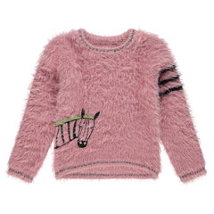 Fluffy-knit sweater with embroidered zebra and contrasting bands on the sleeve