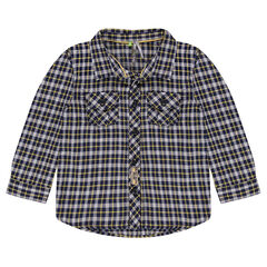 Long-sleeved checkered shirt