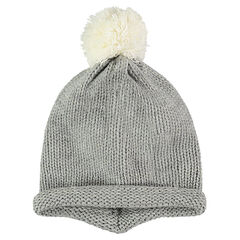 Thick knit cap with a pompom