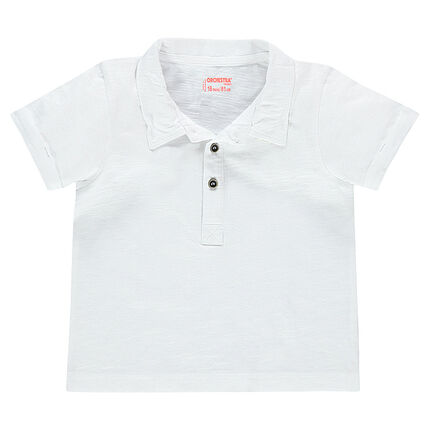 Short-sleeved plain-colored polo shirt