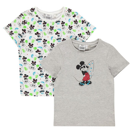 Set of 2 short-sleeved tee-shirts with Disney Mickey Mouse print