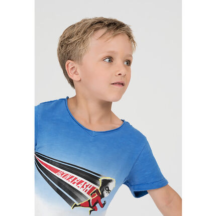 Short-sleeved tie-and-dye effect tee-shirt with a ©Disney superhero print