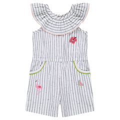 Neps-effect striped romper with a frilled collar
